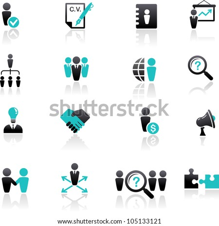 collection of human resources icons - stock vector
