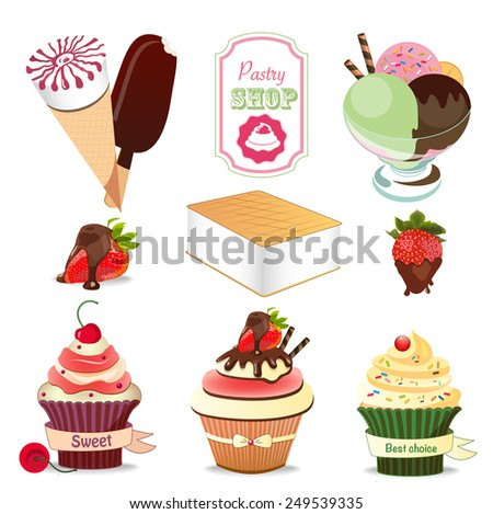 Collection of Ice Cream Design Elements and label .Vector Illustration - stock vector