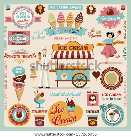 Collection of Ice Cream Design Elements.Vector Illustration - stock vector