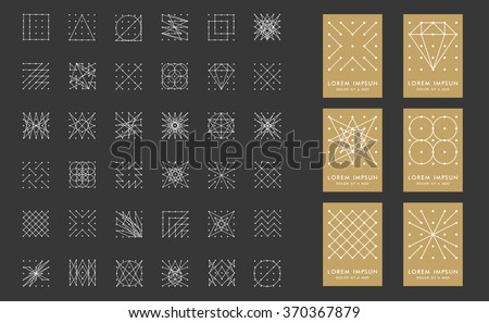 Collection of 36 icon,6 stylish gold Logo.Signs,Logo,Element,Label,Hang tag,diamond,circle.Template for design.Hipster style.Geometry Pattern, Square Pattern.Trendy colors.Vector illustration.Isolated - stock vector