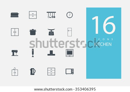 collection of icons in style flat gray color on topic kitchen - stock vector