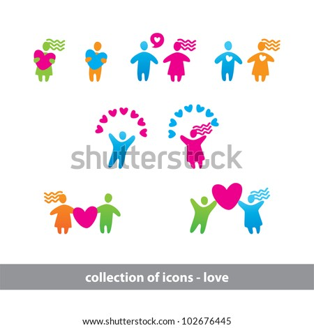 Collection of icons - love. Together - forever. Vector set.
