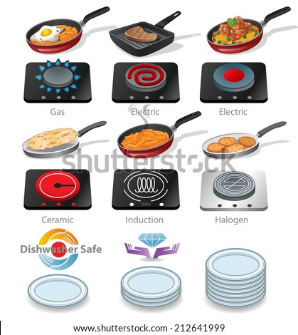 Collection of icons of a frying pan with tasty food and  electric and gas hob with different surfaces - stock vector