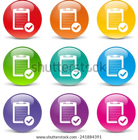 collection of icons of different colors for report - stock vector