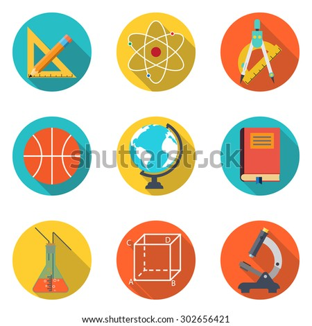 collection of icons of education items, knowledge, learning. colorful flat icons with shadow Isolated on white background. Vector illustration - stock vector