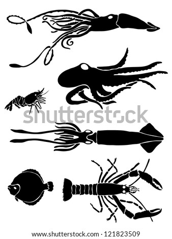 Collection of icons of sea inhabitants - stock vector