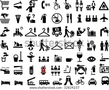 Collection of icons or symbols - stock vector