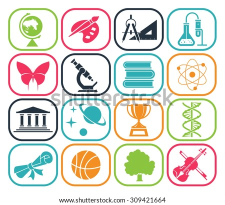 Collection Icons Presenting Different School Subjects ...