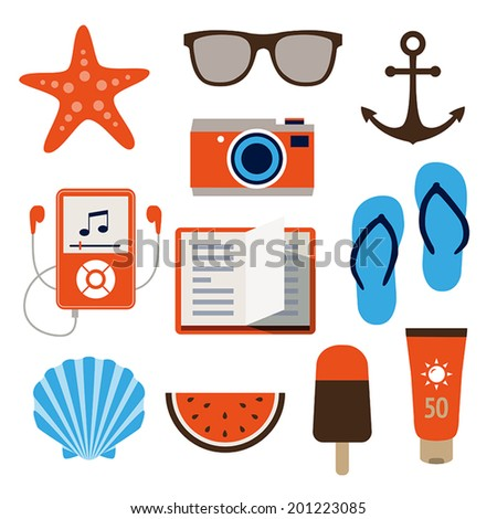 Collection of icons representing holidays, summer and relaxation in flat design style. - stock vector
