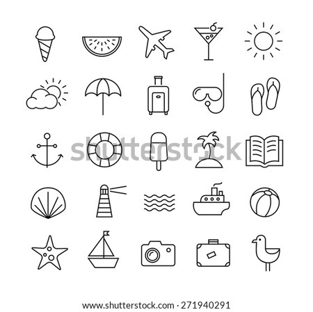 Collection of icons representing summer, travel, sea, beaches and relax. Modern, thin lines style. - stock vector