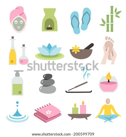 Collection of icons representing wellness, relaxation and spa - flat design - stock vector