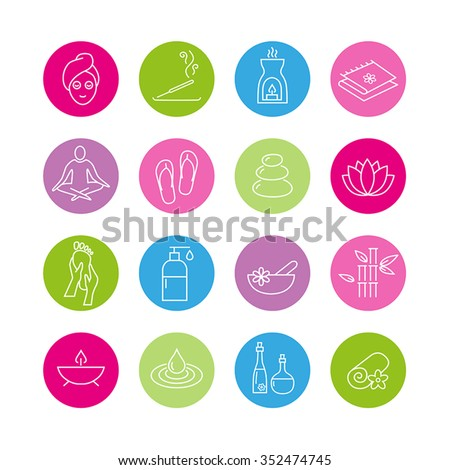 Collection of icons representing wellness, relaxation, cosmetics and healthy lifestyle - stock vector