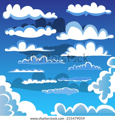 Collection of illustrated cartoon clouds. - stock vector