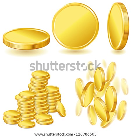 Collection of illustrations, icons of gold coins. - stock vector