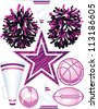 Collection of individually grouped vector cheerleading design elements including football (2views), basketball, pom-poms, pennant (2 views), megaphone, and zebra stripe star. - stock vector
