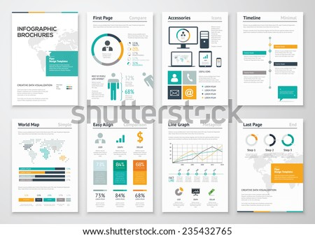 Collection of infographic brochure elements for business data visualization. Vector illustration of modern info graphic metaphor in a flyer concept, use for marketing, website, print, presentation etc - stock vector