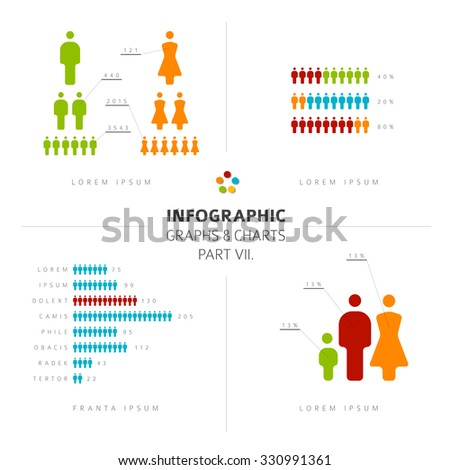 collection of Infographic people elements for your documents and demographic reports, part 7 of my infographic budnle
