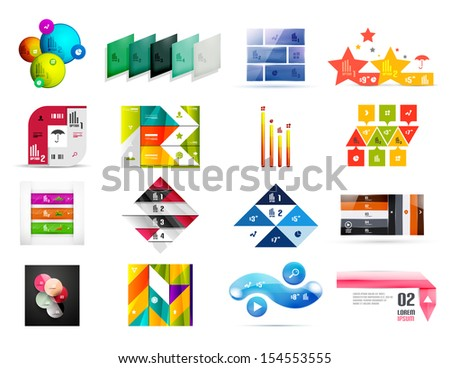 Collection of infographic templates and design elements - stock vector