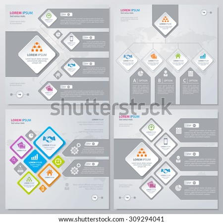 Collection of infographics elements in modern flat business style. Eps 10. Can be used for diagram, banner, number options, workflow layout, step up options, web design etc. - stock vector
