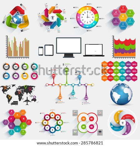 Collection of infographics vector design template. Can be used for workflow layout, banner, diagram, number options, step up options, web design. - stock vector