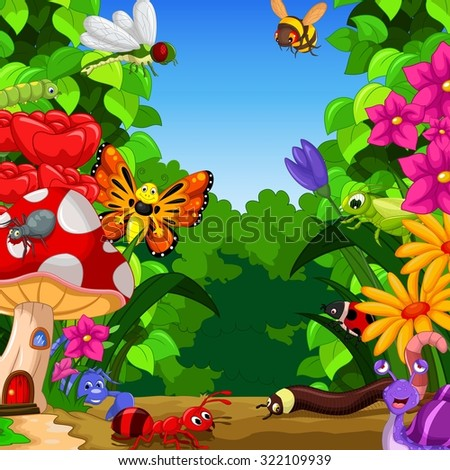 collection of insects in the flower garden  - stock vector