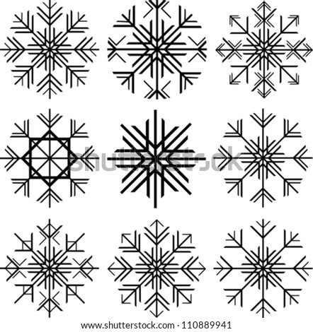 Collection of Isolated Black Snowflakes on White Background, Vector Illustration - stock vector