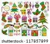 Collection of Isolated Christmas Objects on White Background, Vector Illustration - stock vector