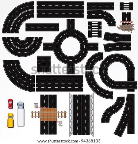 Collection of Isolated Connectable Highway Elements, Constructions and Various Vehicles. Vector Map Kit #1. Road Clip Art Series.