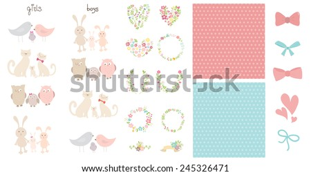 Collection of isolated cutest happy animals families, background, decoration elements. Girls and boys.Can be used for celebration postcard, baby shower invitation, scrapbooking, posters.  - stock vector