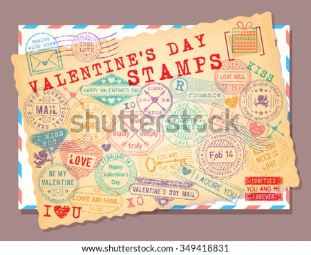Collection of isolated grunge Valentine's Day stamps. Romantic postage stamp set. - stock vector