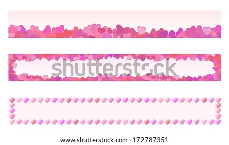Collection of 3 isolated pink, red and purple heart banners not only for Valentine's