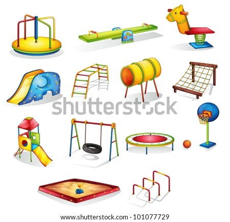 Collection of isolated play equipment - stock vector