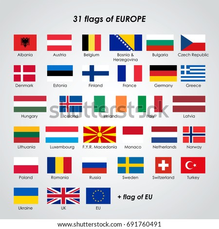Collection 31 isolated vector flags europe stock vector 691760491 collection of 31 isolated vector flags of europe and flag of eu on white background ccuart Choice Image