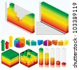 Collection of Isometric Graphs, Charts for your Presentation Design - stock photo