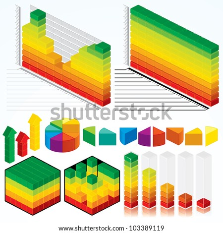 Collection of Isometric Graphs, Charts for your Presentation Design - stock vector