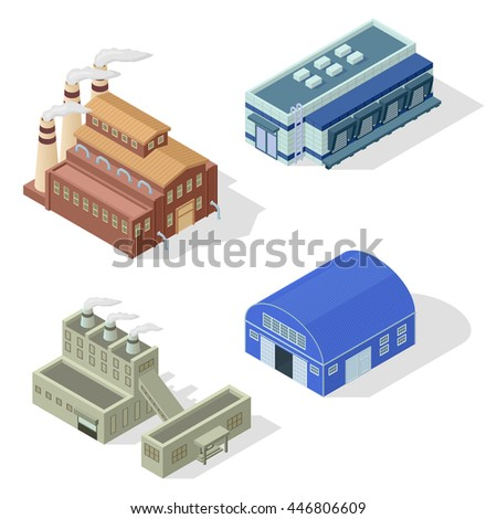 Collection of isometric industrial buildings and other factory objects. Modern structure isometric factory combine together industrial area. Isometric factory production warehouse construction. - stock vector