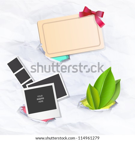Collection of items in hole paper. Vector background design.
