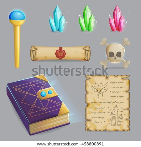 Collection of items to cast a magic spell. Wizard accessories for making magical tricks, ancient book of dead shadows, witch wand, shiny gemstones, scull and sealed manuscript. Game and app ui icons. - stock vector