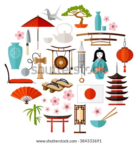 Collection Of Japanese object, souvenirs, accessories. traditional Japan symbols. icons set in the shape of a circle. Japan-themed design elements. Vector illustration. - stock vector