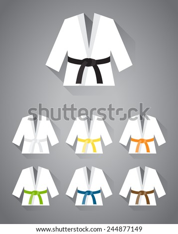 Collection of judo, karate or other martial art suit with different belt colors with long shadow in vector