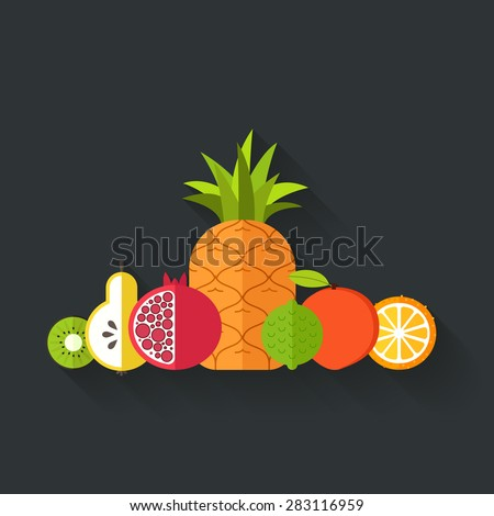 Collection of juicy fresh healthy fruits made in flat style - each one is isolated for easy use. Healthy lifestyle or diet vector design element. Organic farm illustration.   - stock vector