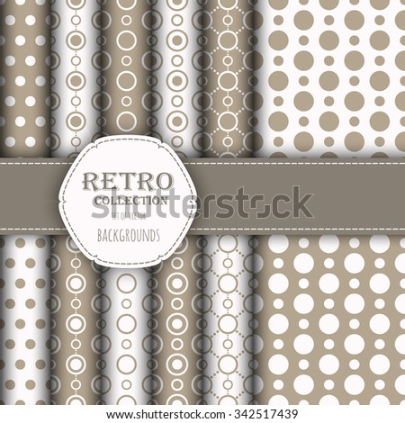 Collection of jumbo and small polka dots seamless patterns in beige, and white. Vector art image illustration. Perfect for wallpapers, pattern fills, web backgrounds, birthday and wedding cards - stock vector