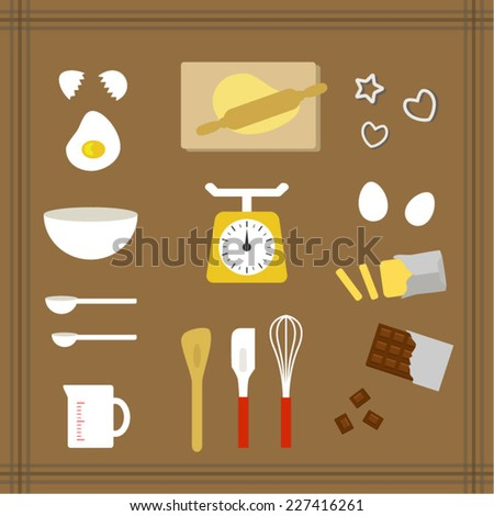 Collection of kitchen tools for sweets  / Vector EPS 10 illustration