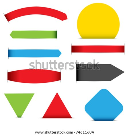 Collection of Labels in Different Shapes and Colors on White Background - stock vector