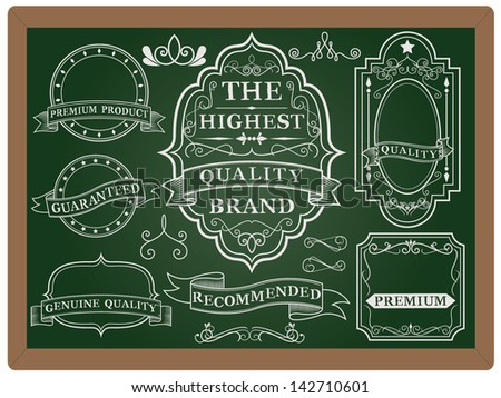 Collection of Labels with retro vintage styled design. Set of calligraphic and typographic elements, frames, vintage labels. Vector. - stock vector