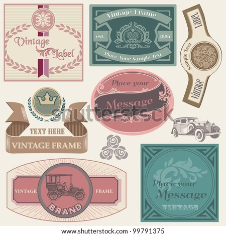 Collection of Labels with Vintage Design in vector - stock vector