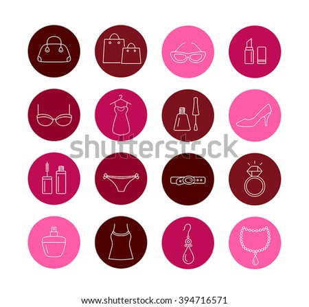 Collection of lady shopping icons. Beauty, fashion, luxury, modern accessories. - stock vector
