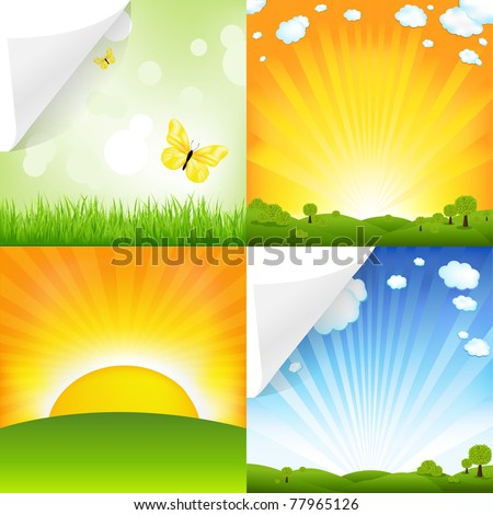 Collection Of Landscapes, Vector Illustration - stock vector