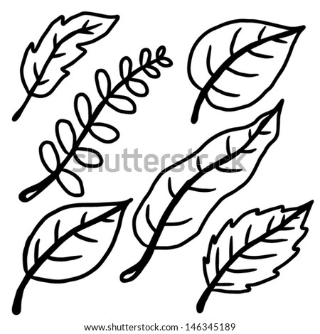 Fallen Leaves Cartoon Vector Illustration Black Stock ...