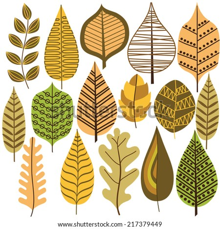 Collection of leaves. Set of vector design elements. - stock vector